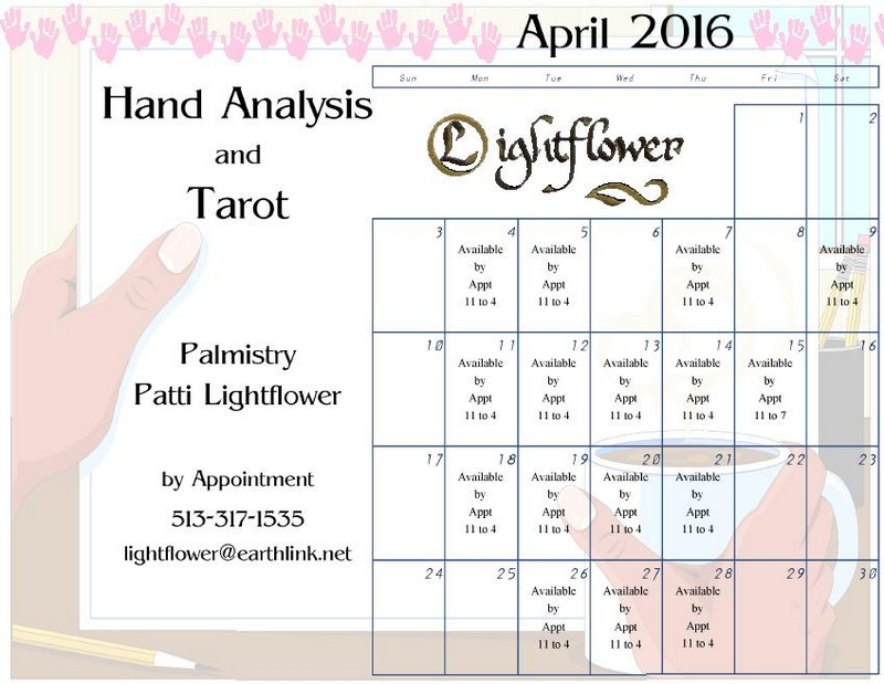 2016 Calendar - Schedule your Palmistry and Tarot Reading today!