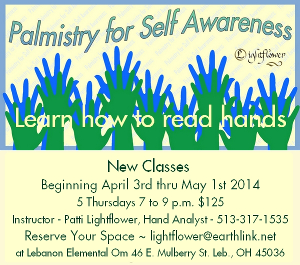 Palmistry Classes with Patti Lightflower at Elemental Om